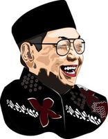 Vector illustration of Indonesia's fourth president Gusdur