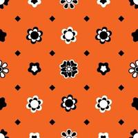 Floral abstract geometric with black small diamond shape pattern vector