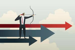 Businessman aiming at goals successful objective and strategy. vector