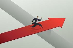 Businessman running cross the red arrow bridge to achieve target. vector
