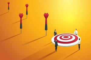 Business people missing the target and not success. vector
