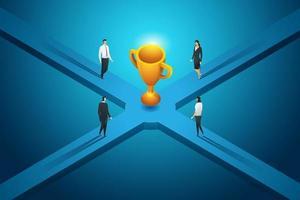 la gente de negocios va camino al gran trofeo. vector