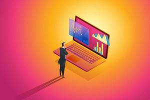 Business person standing looks analysis data and Investment. vector