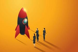 Startup business group people standing view to a rocket. vector