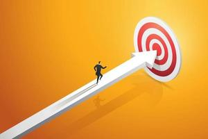 Businessman rushing on the arrow to the target goal and success. vector