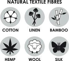Natural textile fiber icons. Cotton, bamboo. wool, hemp, silk, linen vector