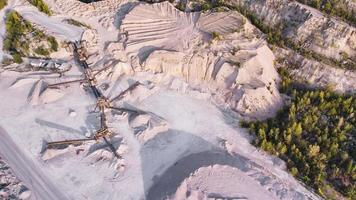 Aerial view of a conveyor system in limestone quarry. photo