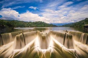 water flows over check dam at Liyutan Reservoir in miaoli, taiwan photo