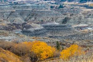 el río de los ciervos rojos serpentea a través de las tierras baldías y bajo la pantalla a todo color del otoño foto