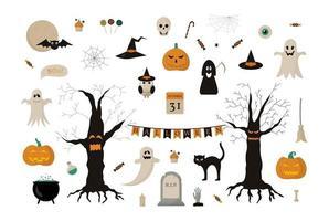 conjunto de ilustración de halloween. colección de pegatinas, tarjetas de felicitación. vector