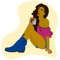 brunette is sitting, a girl with a cup of tea, coffee. Vector. vector