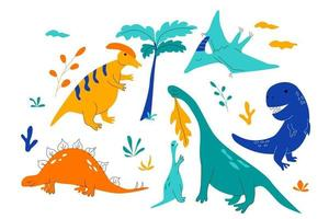 Collection of dinosaurs in nature in doodle style vector