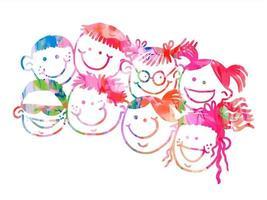 Happy Doodle Watercolor Kids Faces vector
