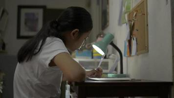 Female teenager writing during doing homework on the desk at night. video