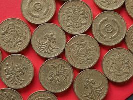 monedas de una libra, reino unido foto