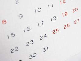 página de calendario con enfoque selectivo foto