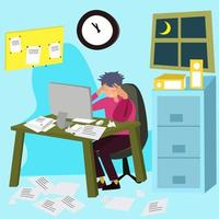 Stress at work. Stressed office worker sitting at desk vector
