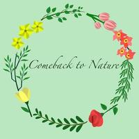 Quote background with cute twig decorative flowers vector