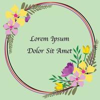 Cute floral frame invitation template vector