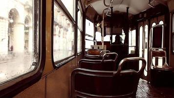 vintage tram in the rain photo