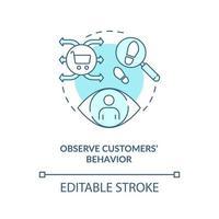 observar el comportamiento de los clientes concepto icono azul vector