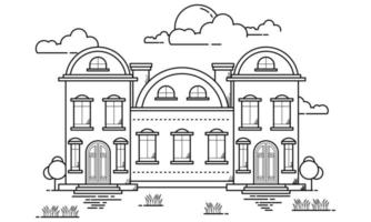 House Building Outline Design for Drawing Book Style four vector