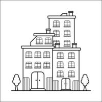 City Building Outline Design for Drawing Book Style fourteen vector