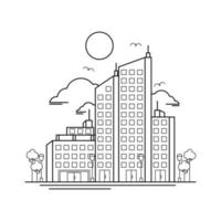 City Building Outline Design for Drawing Book Style two vector