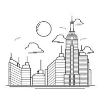 City Building Outline Design for Drawing Book Style nine vector