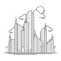 City Building Outline Design for Drawing Book Style four vector