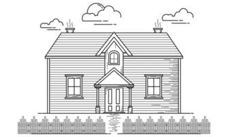 House Building Outline Design for Drawing Book Style ten vector