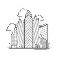 City Building Outline Design for Drawing Book Style three vector