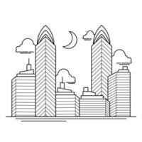 City Building Outline Design for Drawing Book Style twelve vector
