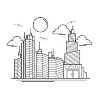 City Building Outline Design for Drawing Book Style six vector