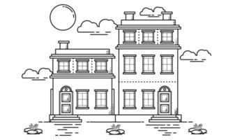 House Building Outline Design for Drawing Book Style five vector