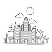 diseño del esquema del edificio de la ciudad para el estilo de libro de dibujo ocho vector