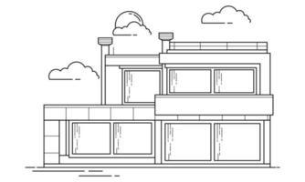 diseño de esquema de construcción de viviendas para el estilo de libro de dibujo ocho vector
