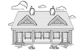 House Building Outline Design for Drawing Book Style six vector