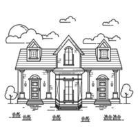 House Building Outline Design for Drawing Book Style two vector