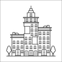 City Building Outline Design for Drawing Book Style fifeteen vector