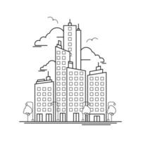 City Building Outline Design for Drawing Book Style one vector