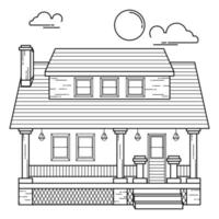 House Building Outline Design for Drawing Book Style eleven vector