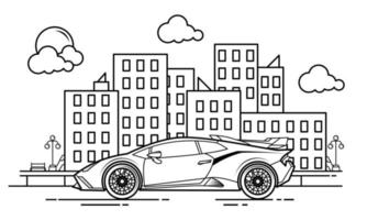 Sport Car Outline Design for Drawing Book Style one vector