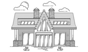 House Building Outline Design for Drawing Book Style seven vector