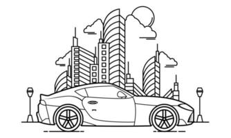 Sport Car Outline Design for Drawing Book Style Four vector