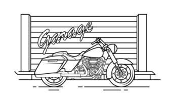 Motorcycle Outline Design for Drawing Book Style three vector