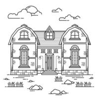 House Building Outline Design for Drawing Book Style one vector