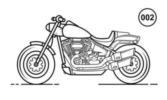 Motorcycle Outline Design for Drawing Book Style 002 vector