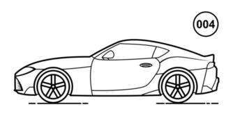 Sport Car Outline Design for Drawing Book Style 004 vector
