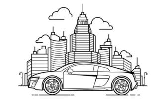 Sport Car Outline Design for Drawing Book Style three vector
